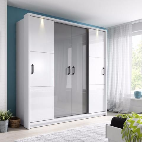 Sliding Door Wardrobe Arti 13 220cm In White Gloss Grey Gloss Replacement Wardrobe Doors Sliding Wardrobe Wardrobe Furniture