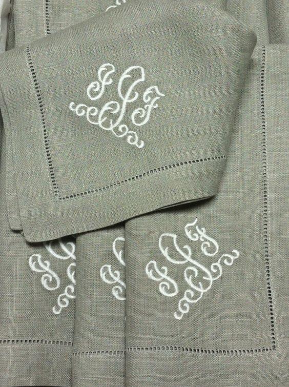 Madison Monogrammed Linen Napkins-www.bellalino.com