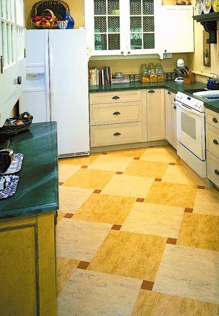 Ideas for kitchen floors linoleum tile more vinyls for Checkered lino flooring