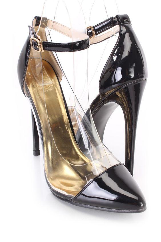 Estes saltos único single sexy e elegantes incluem um superior patente couro falso com um dedo fechado claro guarnição, pontiagudo, vamp de colher, cinta de tornozelo com um fechamento de curvatura lateral, forro macio e palmilha almofadada. Aproximadamente 4 saltos de 34 polegadas.