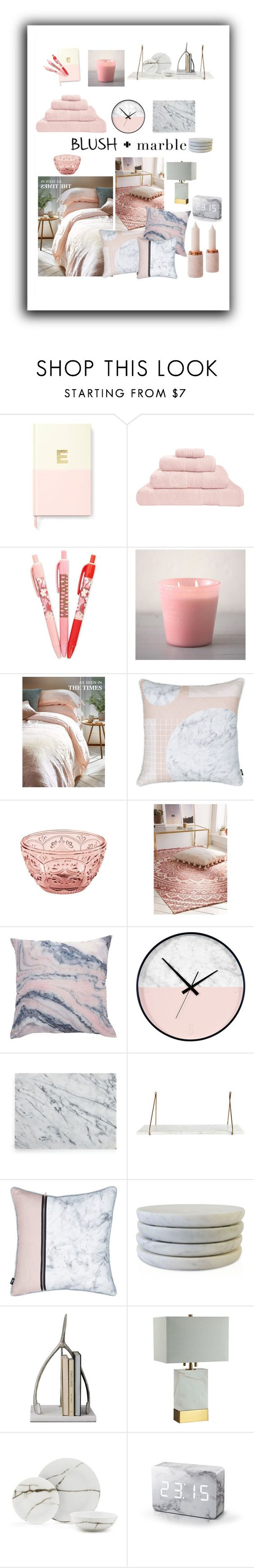 """Blush & Marble Decor"" by daisslovebeauty ❤ liked on Polyvore featuring interior, interiors, interior design, home, home decor, interior decorating, Kate Spade, Hamam, Vera Bradley and Fitz and Floyd"