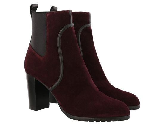 Sergio Rossi heeled chelsea boots in burgundy suede - Italian Boutique €358