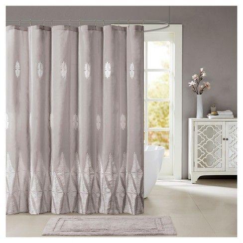 Cassandra Geometric Embroidered Shower Curtain Target Pink