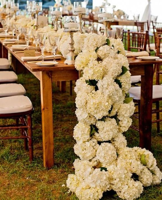 K'Mich Weddings - wedding planning - centerpiece alternatives - Bunches of Hydrangea as a floral table runner- Caroline Herrera