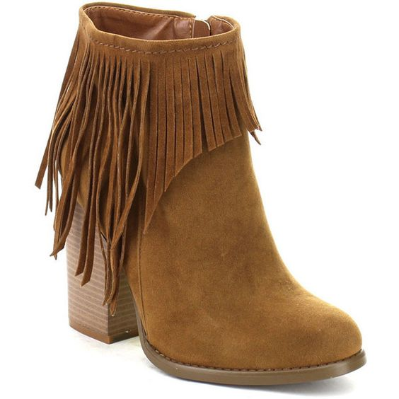 Beston Joseph-03 Women's Chic Side Zipper Fringe Ankle Booties (63 CAD) ❤ liked on Polyvore featuring shoes, boots, ankle booties, tan, side zip boots, tan fringe boots, fringe bootie, tassel boots and tan booties