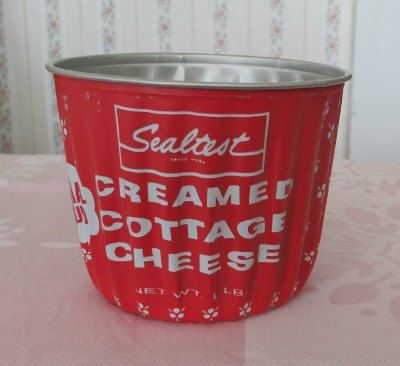 Sealtest Cottage Cheese Container Red & White Aluminum.