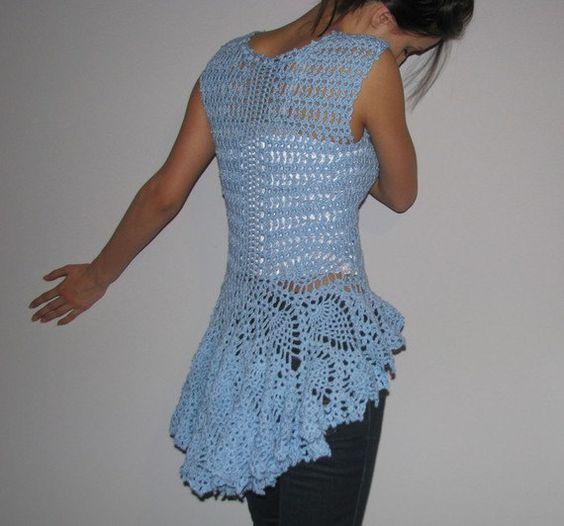 Women tops vests Crochet blue vest  S/M/L/XL by kovale on Etsy, $86.00                                                 youtube to mp3