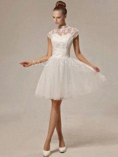 Robe de mariée civile dentelle col montant robe pas cher
