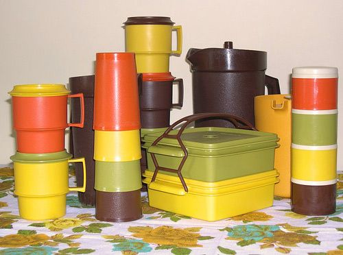 Vintage Tupperware in Orange, Green, Yellow and Brown. Don't laugh, I still have some of these pieces.: