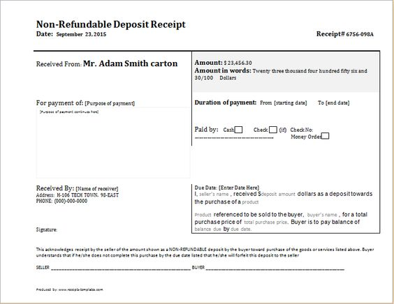 Non Refundable Deposit Receipt DOWNLOAD free at    www - consignment inventory agreement template