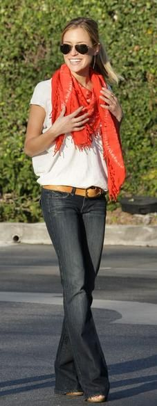 Long jeans + wedges + white tee + oversized bright scarf
