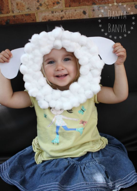 Cute sheep mask craft activity for kids, that can be used for roleplay afterwards. For celebrating Chinese Year of the Sheep, Spring, Easter, Christmas or simple farmyard play - Danya Banya