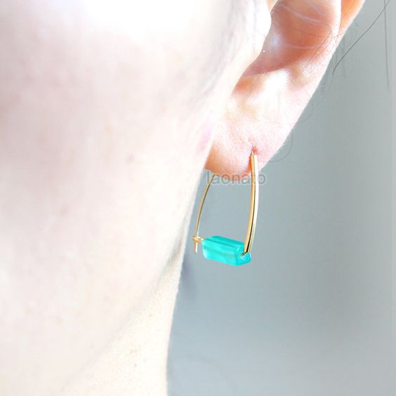 Rectangular Stone Dangle Earrings / rectangle stone, white, green