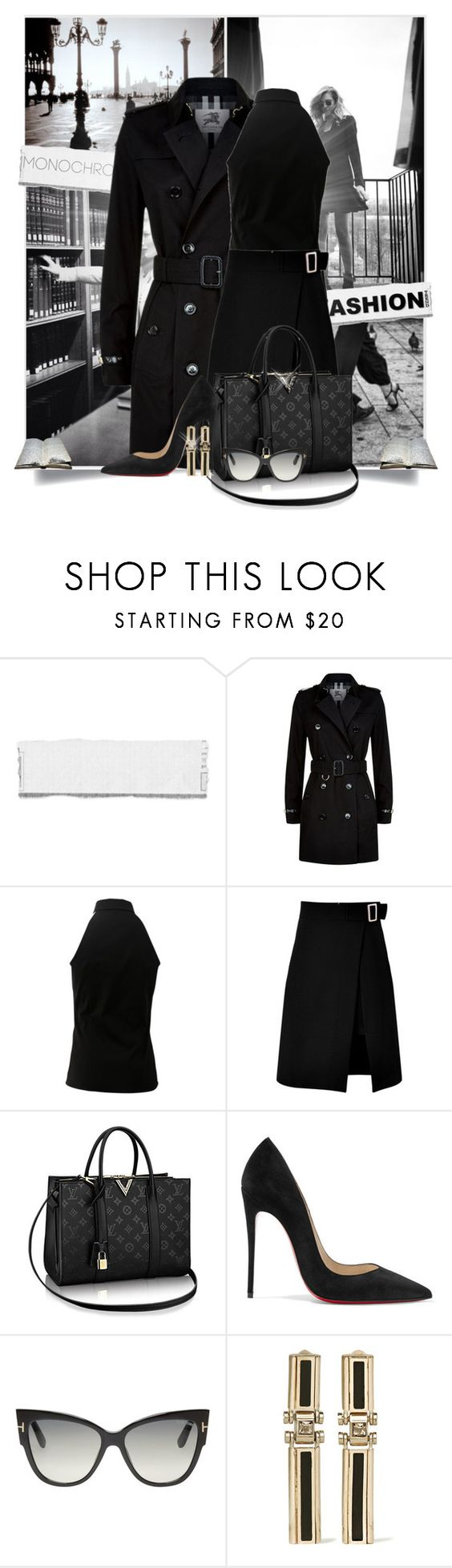 """Black Monochrome - Tres Chique"" by tina-abbara ❤ liked on Polyvore featuring Burberry, Michael Kors, storets, Christian Louboutin, Tom Ford and Lanvin"