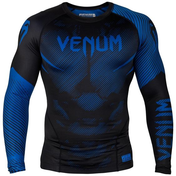 BLACK COMPRESSION TOP VENUM NOGI 2.0 SHORT SLEEVE RASH GUARD BLUE