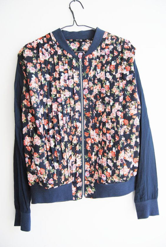 90s Floral Bomber Jacket Vintage Silk Scarf Jacket Rose Print