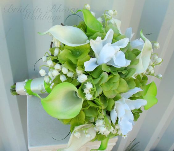 Lime+green+Wedding+bouquet+calla+lily+door+BrideinBloomWeddings,+$130.00