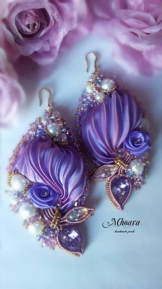 'Spring' Mhoara jewels Shiborisilk earrings sikribbon design, beadembroidery, soutache, violet ,silk, pearls, crystals , elegant exclusive jewerly: