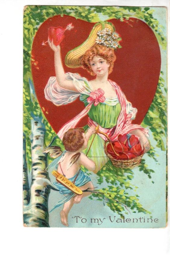 US2274 Postcard Artist Designed Valentine Woman basket of hearts