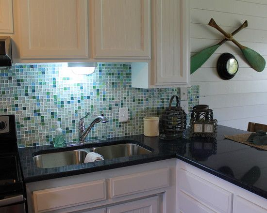 Exciting Sea Glass Backsplash Kitchen For Tropical Kitchen Design With  White Kitchen Cabinet | kitchen | Pinterest | Glass backsplash kitchen, ...