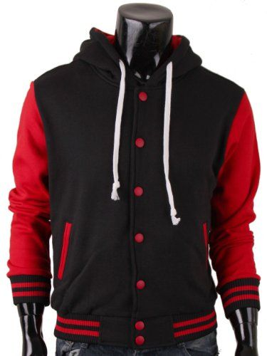 Bcpolo Hoodie Baseball Jacket Sweatshirt Jacket Black-red