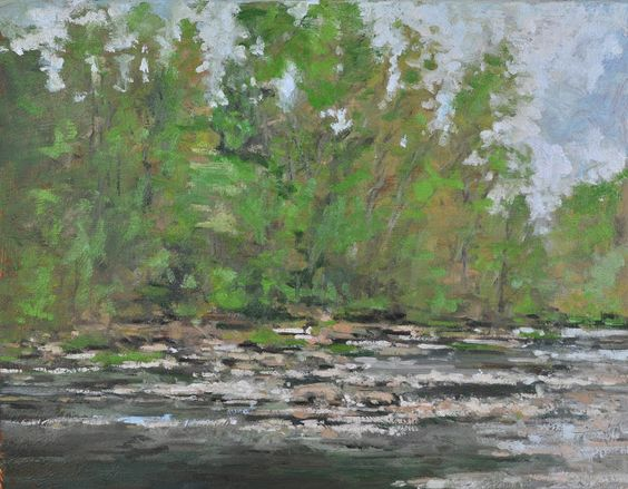 Raymond Berry: Gilmans II, Looking Upstream Towards the Bridge, April 25-May 22, 2013, 14 x 18