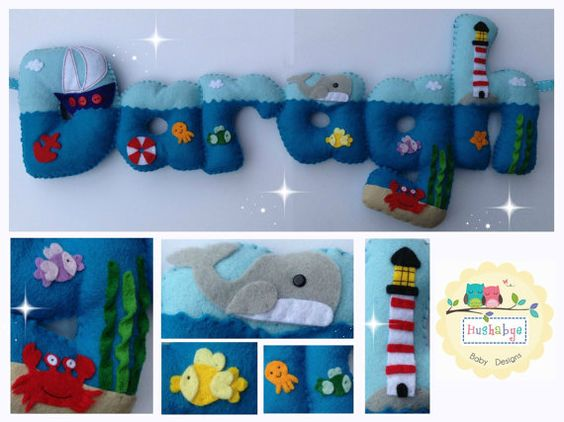 Nautical sea themed personalised felt name banner, nursery decor - MADE TO ORDER