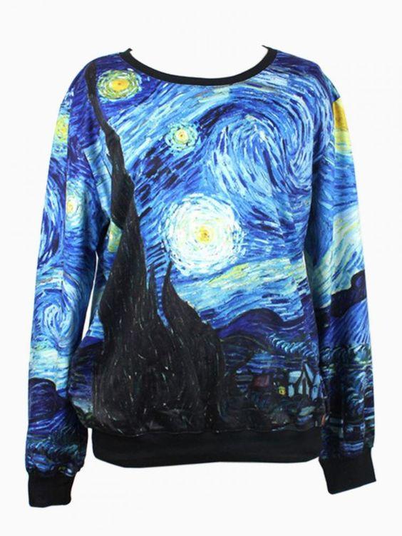 The Painting Of Van Gogh Print Sweatshirt - Choies.com