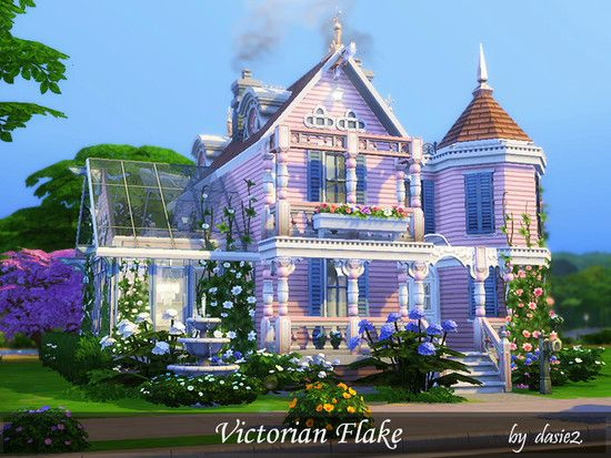 Victorian Flake Is A Cute Little Villa This Small House Features Two Bedrooms Two Bathrooms A Study Pla Sims House Design Sims 4 House Design Sims Building