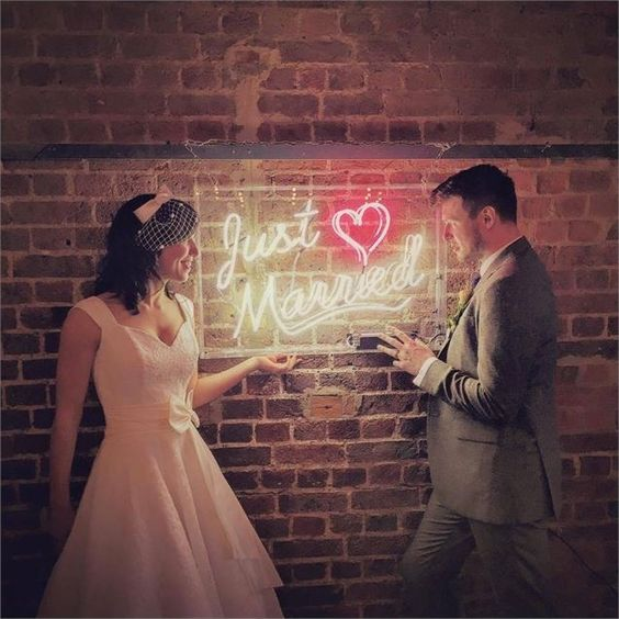 This 'just married' sign from Neon Creations is something a bit different. Try this idea.