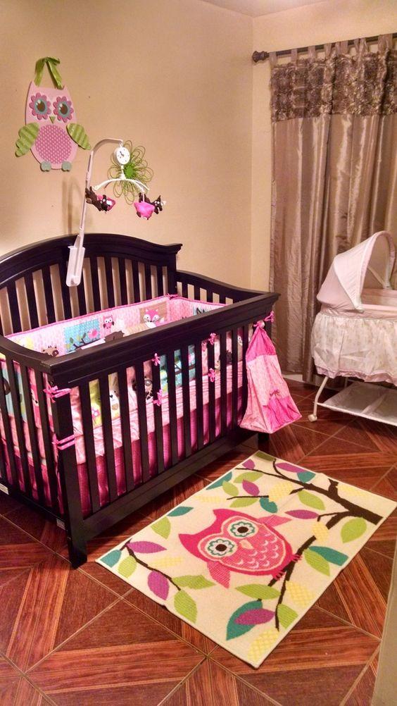 Gorgeous owl theme nursery inspiration.  #pink #owls #trees #baby #room