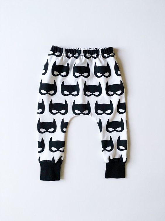These baby pants are the bee's knees!   Baby Boy Batman Harem Pants Toddler Superhero Leggings by HipMingo