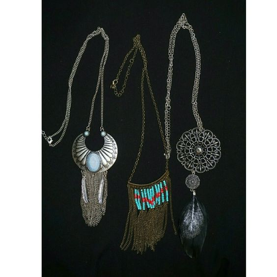 Long Necklace 3 long necklaces, Dream catcher necklaces , tribal style Charlotte Russe Jewelry Necklaces