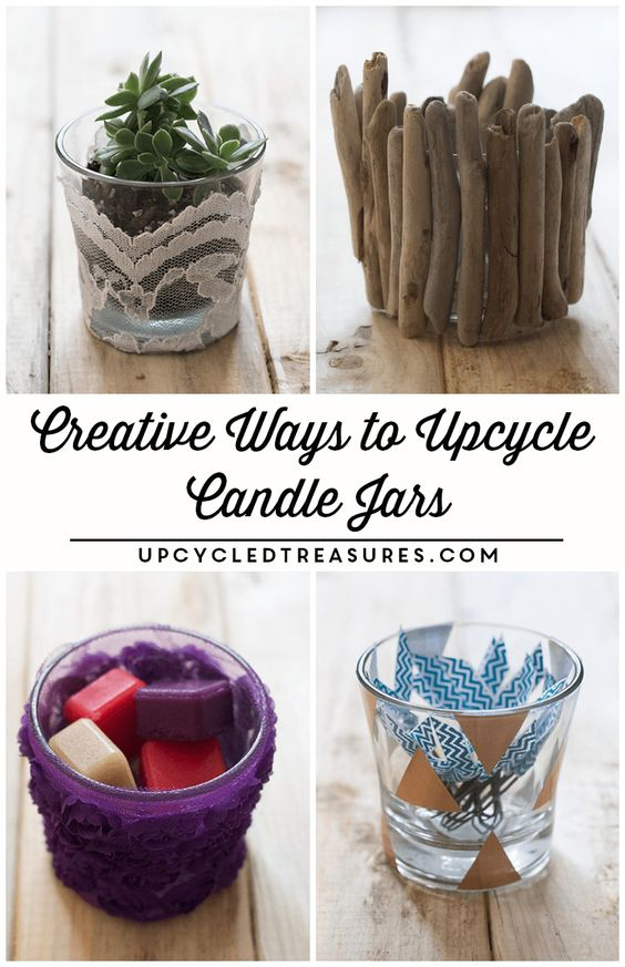 I'm definitely doing some of these! Creative ways to upcycle candle Jars | UpcycledTreasures.com