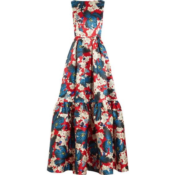 Erdem Alouette printed silk-gazar gown (€2.055) found on Polyvore featuring women's fashion, dresses, gowns, erdem, long dresses, floral print dress, floral gown, silk floral dress, floral dress and flare dress: