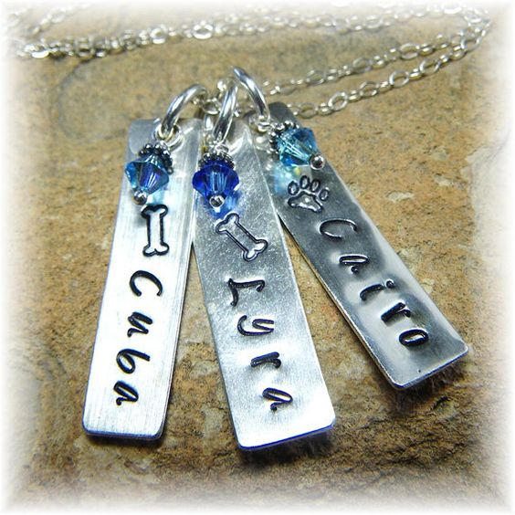 Custom Sterling Silver Personalized Stamped Crystal Birthstone Necklace - 3 Dog Cat Pet Names - Great Unique Gift - Handmade on Etsy, $43.00