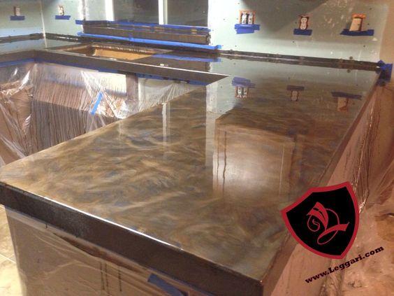 This Countertop Was Coated With A Leggari Products Diy Metallic Epoxy Countertop Resurfacing Kit