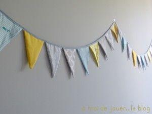 guirlande de fanions gris jaunes et bleus chambre enfant pinterest. Black Bedroom Furniture Sets. Home Design Ideas