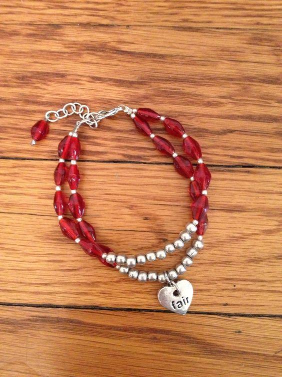 "Crimson Strands Bracelet with ""Fair"" heart charm. Handmade in India, #fairtrade #worldfinds"