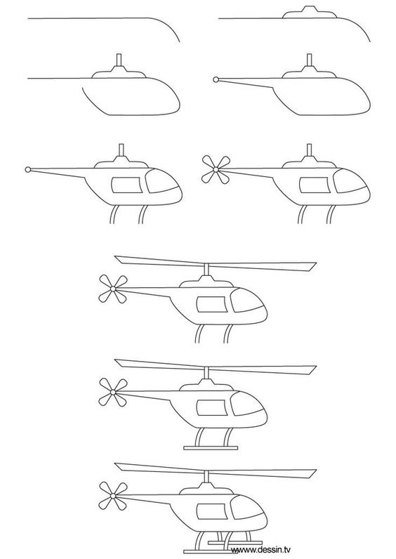 Helicopter Drawing For Kid