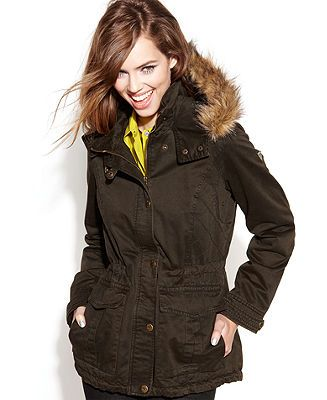 GUESS Coat Hooded Faux-Fur-Trim Parka - Coats - Women - Macy's