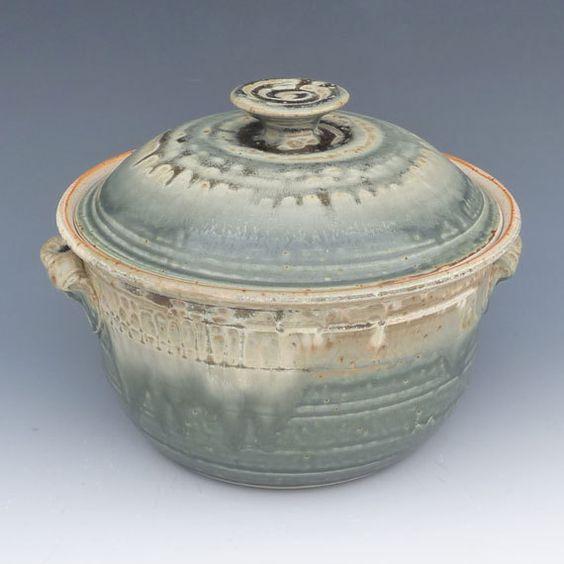 Pottery Casserole - Large Lidded Green