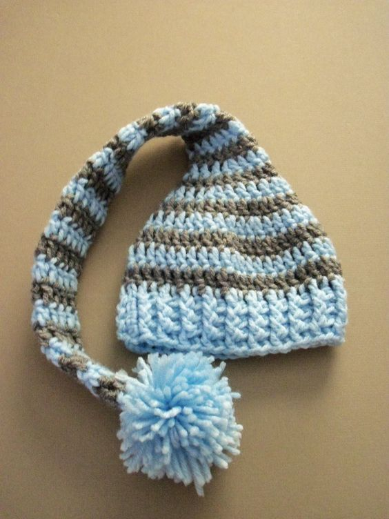 Child Elf Hat Crochet Pattern : Baby Crochet Long Tail Elf Hat, Baby Crochet Elf Hat ...