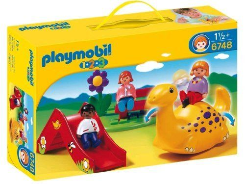 Playmobil 1.2.3 Playground by Playmobil. $18.07. 11.8 x 7.9 x 3 inches. Child's playground with Rocking Dino and slide. Big pieces for toddlers! The bright colors, rounded shapes, and loving details of PLAYMOBIL 1.2.3. help children to develop and to learn through play. PLAYMOBIL 1.2.3 toys are color fast, easily washable and safe.