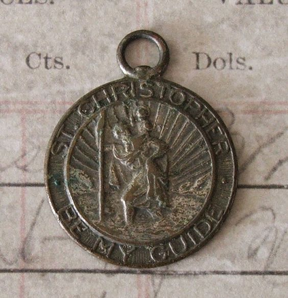 Vintage St. Christopher Be My Guide Medal Airplane Automobile Protector Of Travelers ~ SOLD!!!