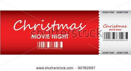special red ticket for Christmas movie night by Dragomer Maria, via Shutterstock