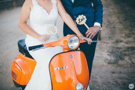Wedding photography. Old vespa.
