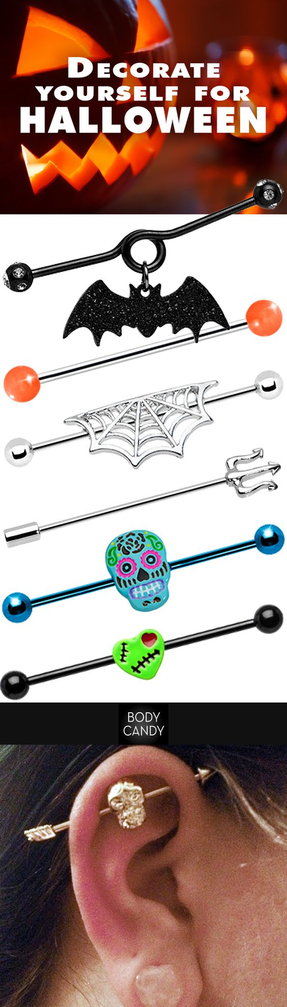 Haunting in the light of the moon, Halloween inspired industrial barbells. www.BodyCandy.com