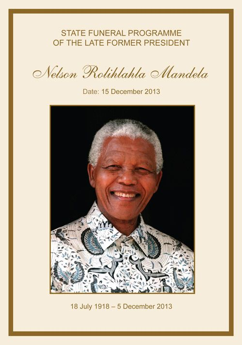 Nelson Mandela Funeral Program Cover Download Full Program Here