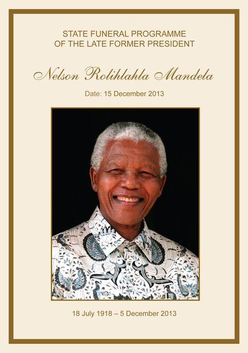 Nice Nelson Mandela Funeral Program, Cover Download Full Program Here   Funeral  Program Format Template